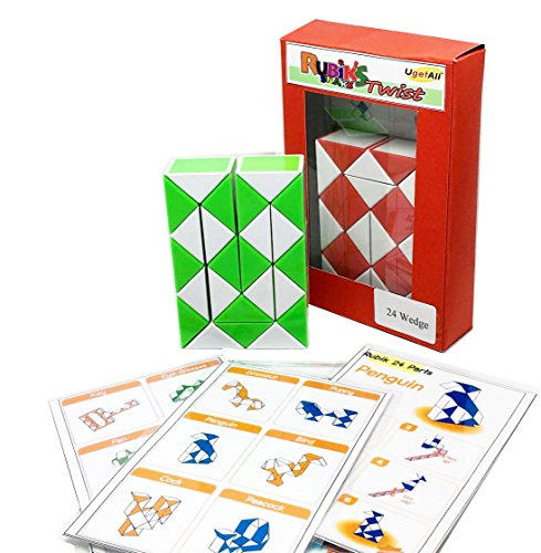 Rubik Snake 24 Part Pack of 1 Rubik Twist Puzzle Random Color with Pattern Design & Instruction Pattern
