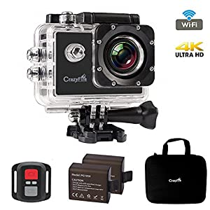"Best Action Camera,CrazyFire 4K Ultra HD Sport Action Camera,16MP 170 Degree Angle Underwater Wifi Action Camera with 2.0"" LCD,2pcs 1050mAh Batteries and Accessory Kit"