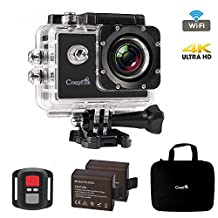 "Best Action Camera,CrazyFire 4K Ultra HD Sport Action Camera,16MP 170 Degree Angle Underwater Wifi Action Camera with 2.0"" LCD,2pcs 900mAh Batteries and Accessory Kit"