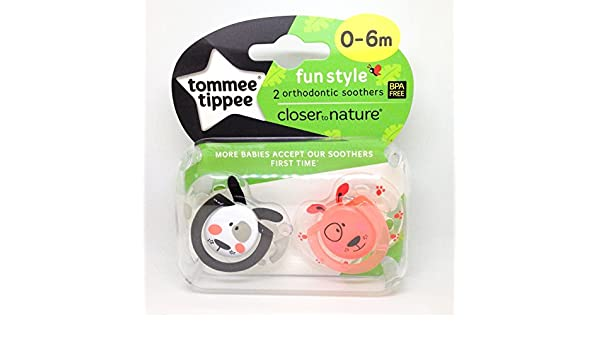 Tommee Tippee Closer To Nature: 2 x Chupete 0-6m (Perros ...