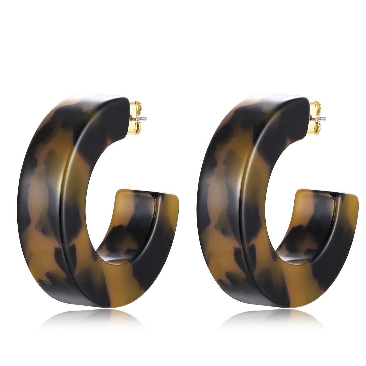 Acrylic Hoop Earrings,Tortoise Leopard Texture Resin Open Personlized Boho Statement Hoop Earrings For Women