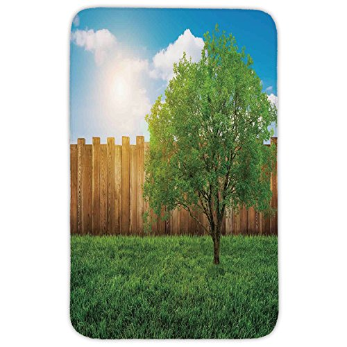 Rectangular Area Rug Mat Rug,Farm House Decor,Tree of Life in Backyard of a Countryhouse with Sun Tranquil Field Design,Green Blue,Home Decor Mat with Non Slip Backing by iPrint