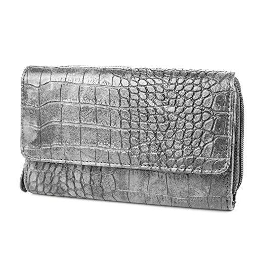 MUNDI Womans Big Fat Wallet Clutch Organizer - Crocodile Pattern - Grey