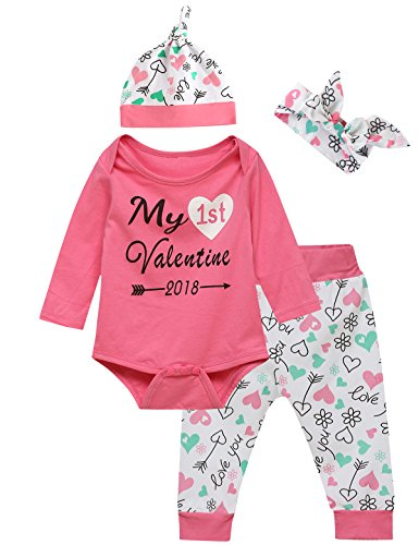 Lorjoy Newborn Baby Girls My First Valentine Outfit Set Long Sleeve Pants Sets (6-12 Months)