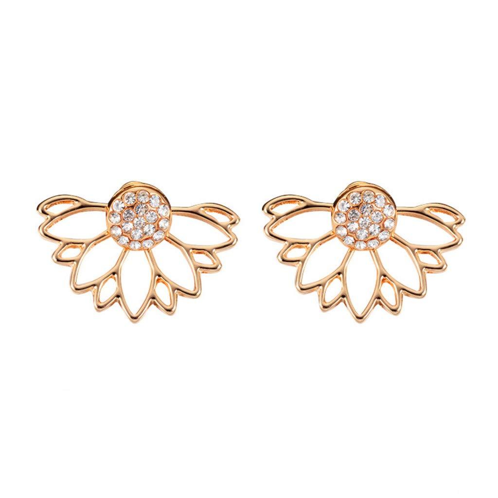 Keliay Minimalist Design Personality simple earrings sun flower double-sided diamond earrings irregular mesh