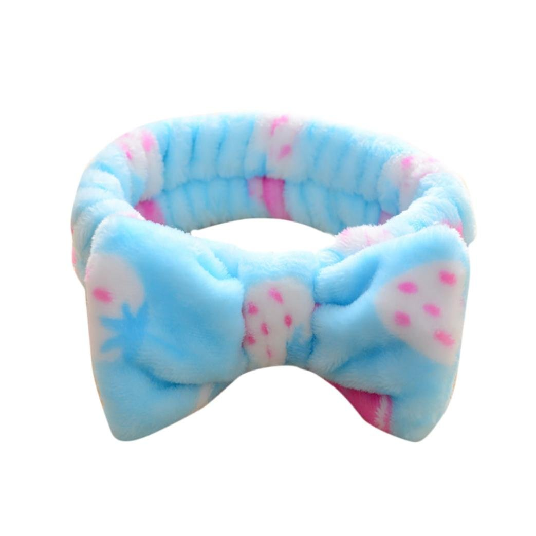 Soft Hairband,FTXJ Big Bow Dot Striped Soft Hair Band Head Wrap Headband Bath Spa Headband Make (J)