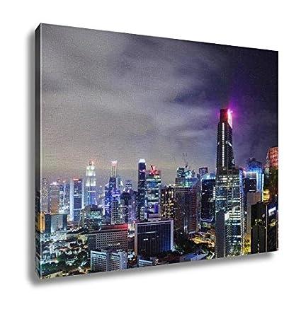 Amazoncom Ashley Canvas Cityscape Of Singapore City At Night
