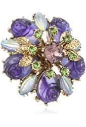 Betsey Johnson Carved Flower Stretch Ring, Size 7.5