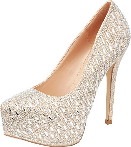 - Cambridge Select Women's Glitter Crystal Rhinestone Slip-On Chunky Platform High Heel Pump,8 B(M) US,Champagne