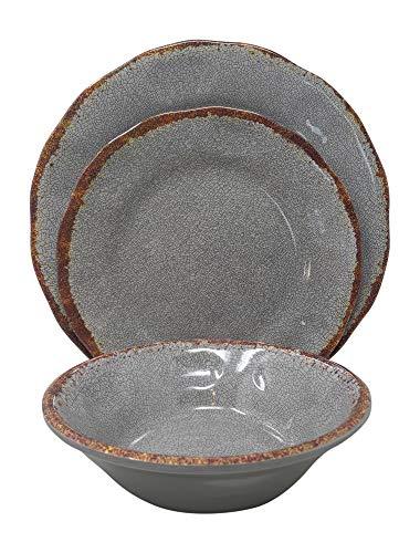 Gianna's Home 12 Piece Rustic Farmhouse Melamine Dinnerware Set (Gray) (Melamine Rustic Plates)
