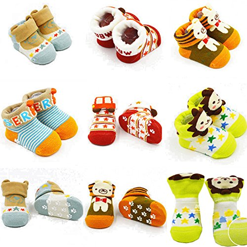 Fly-love® 5pairs Animal Non-Skid Slip Toddler Socks Cotton Unisex Baby Crew Sock 0-18 months With Box by love (Image #3)