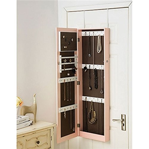 Pink Full-Length Hanging Mirror with Jewelry Cabinet