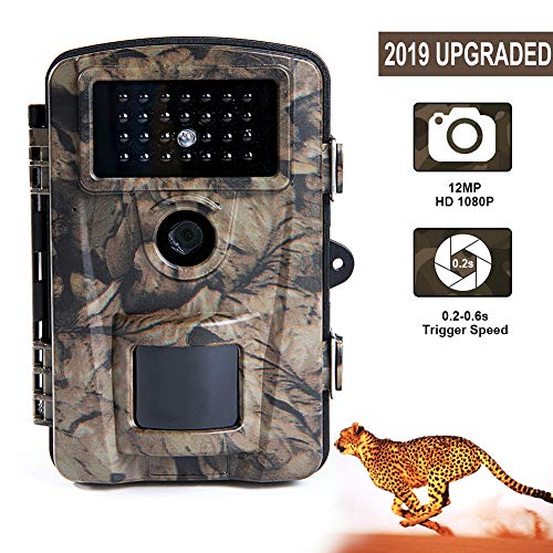 Trail Camera 12MP 1080P Waterproof Scouting Camera, Hunting Camera with 90° Range Motion Activated Night Vision 2.4