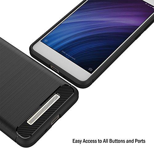Funda Xiaomi Redmi 4A, iVoler Negro Súper TPU Silicona Carcasa Fundas Protectora con Shock- Absorción y Diseño de Fibra de Carbon Para Xiaomi Redmi 4A