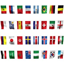 Bloomeet 2018 26.2 Feet 32 Teams-Flags String World Flags Rectangle International Flag Banners Countries Soccer Decoration for Festival Events Celebration, 8.2'' x 5.5'' (LxW)