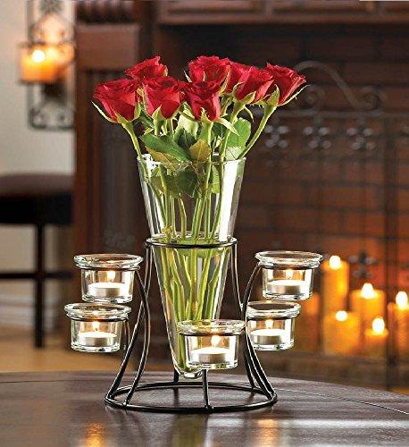 Candelabras Black Candle Holder with Vase Table Decor Wedding Centerpiece ()