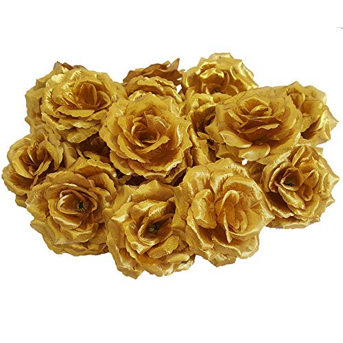 - Eternal Blossom Silk Rose Flower Head, 20PCS for Hat Clothes Album Decoration, Wedding Decoration (Gold)