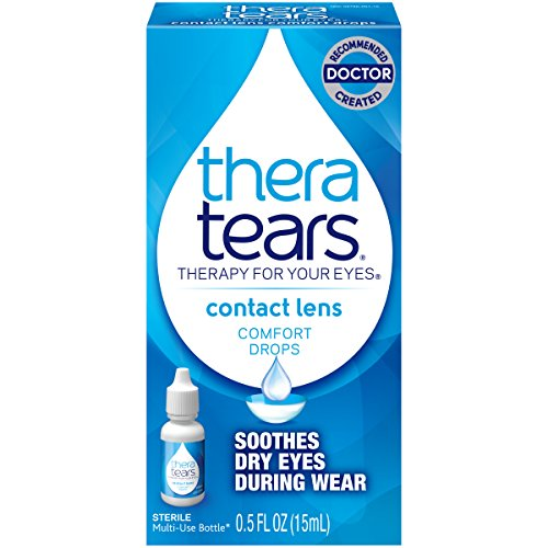 Rewetting Drops Lens (TheraTears Eye Drops for Contacts, Contact Lens Comfort Rewetting Eyedrops for Dry Eyes, 0.5 Fl oz, 15 mL)