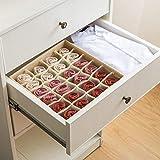 Qozary 2 Pack Linen Textured Closet Socks Organizer Drawer Divider, 24 Cell Collapsible Closet Cabinet Organizer Underwear Storage Boxes for Storing Socks, Lingerie, Underwear