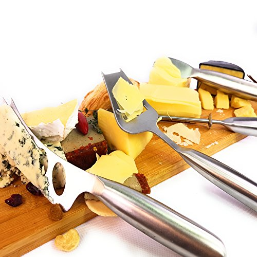 Solander Skelf Original Cheese Knives Set 4-Pieces   Cheese Slicer   Cheese Cutter   Cheese Wire Cutter   Cheese Spreader Knife   Stainless steel Cheese Knives Set with Gift box   Premium Collection