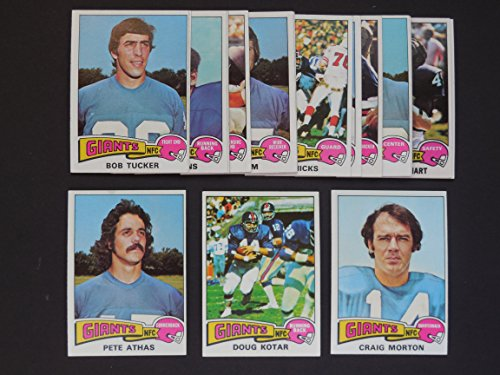 New York Giants 1975 Topps Football Team Set (18 Cards) **Pete Athas, Joe Dawkins, Walker Gillette, Pete Gogolak, Jack Gregory, Bob Grim, Don Herrmann, John Hicks, Ron Hornsby, Pat Hughes, Bob Hyland, Ron Johnson, Doug Kotar, Spider Lockhart, John Mendenhall, Carig Morton, Bob Tucker, Doug Van Horn**