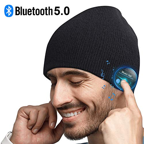 Bluetooth Beanie, Mens Gifts, Bluetooth Hat, Bluetooth Beanie Hat with Bluetooth 5.0, Tech Gifts for Men, Fit for Outdoor Sports, Washable, Gifts for Men Women, Christmas Thanksgiving Day Birthday