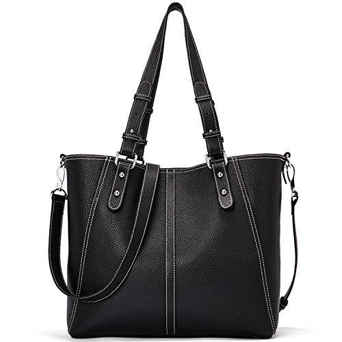 Handbags for Women Genuine Leather Designer Purse Fashion Hobo Tote Large Shoulder Bag Black (Designer Umbrella Sale)