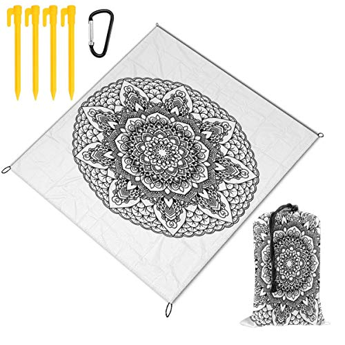 Rachel Dora Outdoor Waterproof Camping Blankets Lightweight Oversized Sandproof Durable Beach Mat for Picnic,Travel,Yoga,Hiking,Mandala Black and White Printing Blanket with Pockets 78 x 57 inch (Best Stain Remover For Clothes In India)