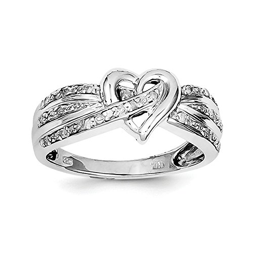 Sterling Silver Polished Rhodium-plated Rhodium Plated Diamond Heart Ring - Size 6 (Diamond Navel Heart Jewelry)