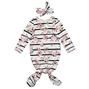Newborn Baby Girls Sleepy Floral Striped Gown Headband Sleepwear Romper Sleeping Bags (0-3M, White)