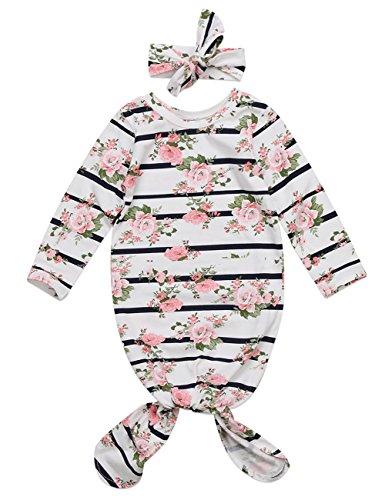 Newborn Baby Girls Sleepy Floral Striped Gown Headband Sleepwear Romper Sleeping Bags (0-3M, White) Cute Diaper Shirt