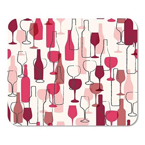 Suike Mousepad Computer Notepad Office Watercolor Cabernet Wine Bottle and Wineglass Pattern Colorful Red Chardonnay Bar Home School Game Player Computer Worker 9.5x7.9 Inch