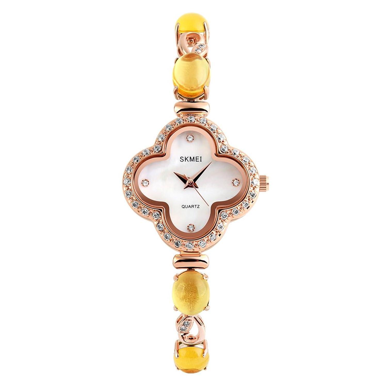 Trend Damenuhr-Wasserdichter Quarzuhr Armband Frauen-Mode Strass elegant vierblÄttrige Kleeblatt Kupfer Kupferband-