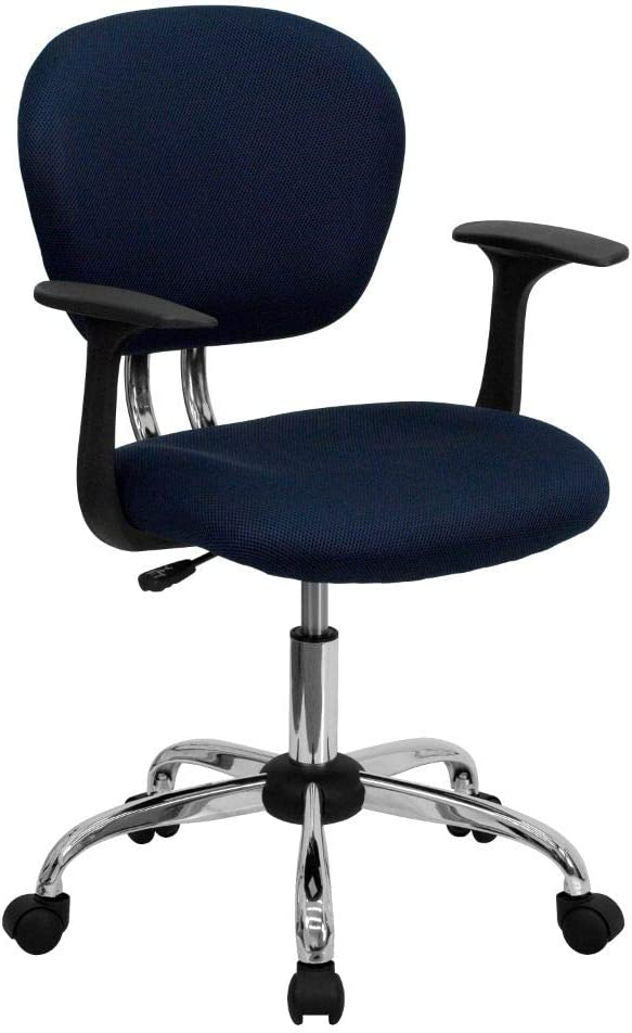 Flash Furniture Mid-Back Navy Mesh Padded Swivel Task Office Chair with Chrome Base and Arms