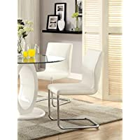 Furniture of America Quezon Modern Leatherette Dining Chair, White, Set of 2