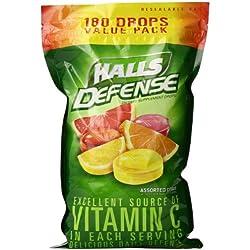 HALLS Defense Vitamin C Supplement Drops Value Pack, (Assorted Citrus, 180 Drops)
