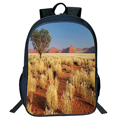 DKFDS Backpacks Unisex School Students Black Landscape,Acacia Tree Desert Sossusvlei Namibia Southern Africa Photo,Marigold Sky Blue Green Kids,