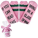 If You Can Read This Bring Me Wine Funny Novelty Saying Socks Cozy Fuzzy Slipper Socks in Pink with Cupcake Packaging