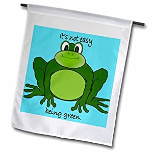 3dRose fl_40069_1 Cartoon Green Frog Environmentalist and it is Not Easy Being Green. Garden Flag, 12 by 18-Inch