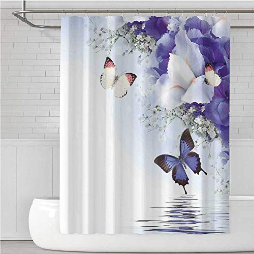 C COABALLA Butterflies Stylish Shower Curtain,Butterflies Sailing on Sea with Major Colorful Iris Flowers Fairy Magical Home Decor for Bathroom,108.2