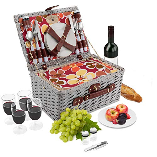 Wicker Picnic Basket Set 4 Person Deluxe Vintage Style Woven Willow Picnic Hamper Built-in Cooler Ceramic Plates, Stainless Steel Silverware, Wine Glasses, S P Shakers, Bottle Opener White