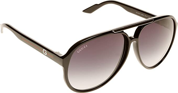 249c013df4d Amazon.com  Gucci Men s 1627 Shiny Black Frame Grey Gradient Lens ...