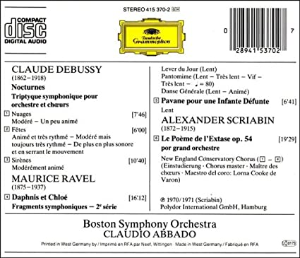Orchestra Claude Debussy Nocturnes Triptyque symphonique Nuages-Fêtes-Sirènes
