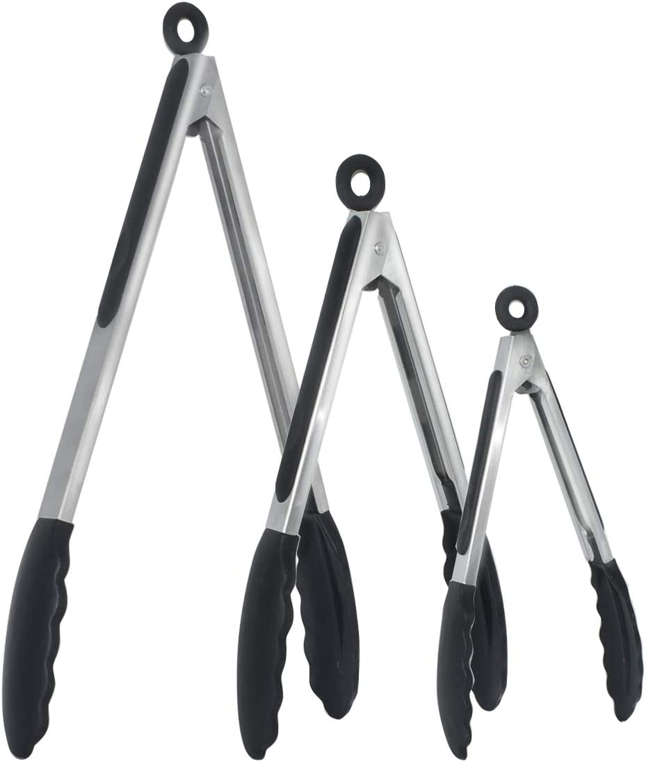 Vhabob Kitchen Tongs, Set of 3-7, 9, 12 Inch, Stainless Steel Food Tongs with Silicone Tips for Barbecue, Salad, Grilling, Frying, Cooking (Black)