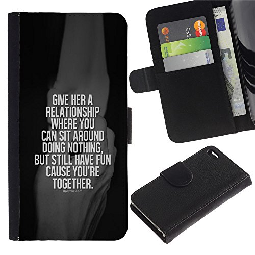 A-type (Relationship Black Together White Quote) Colorful Impression Holster Cuir Wallet Cover Housse Peau Cas Case Coque Pour Apple Iphone 4 / 4S