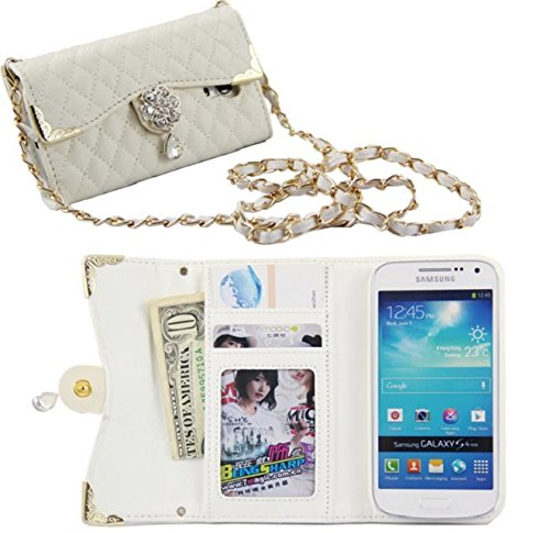 Jovilife Stylish Luxury Lady Evening Bag Clutch Handbag Purse Style With Card Holder Wallet PU Leather Mobile Phone Sleeve Case for Samsung Galaxy S4 Mini I9190 (white)