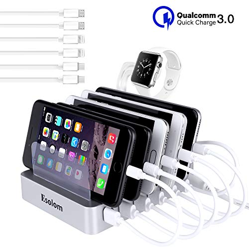 Fastest Charging Station, ESOLOM Universal 6-Port Charger Station Dock with QC 3.0 Quick Charge, 6 USB Cables&iWatch Holder, Smart Charger Station Dock&Organizer for Multiple Devices,Phones,Tablets