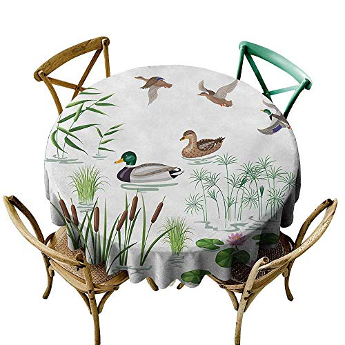 (Dust-Proof Round Tablecloth Rubber Duck Lake Animals and Plants with Lily Flowers Reeds Cane in The Pond Nature Park Soft and Smooth Surface D67 White Green)