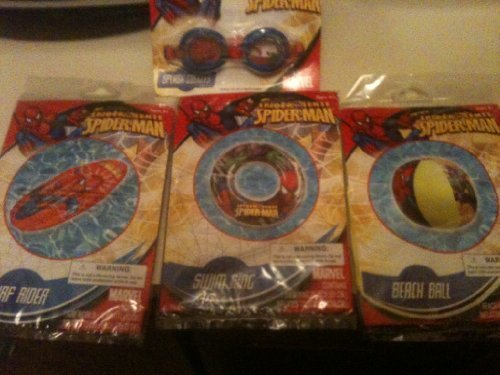 Marvel Superhero Spiderman Pool Set ; Spiderman Surf rider Float, Spidey Spalsh Goggles, Spiderman vs. Green Goblin Swim Ring and Spiderman vs. Green Goblin Beach Ball by What Kids Want