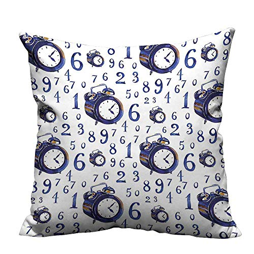 YouXianHome Super Soft Pillowcase Style Effect an Alarm Clock Caligraphic Numbers Blue and White Resists Wrinkles(Double-Sided Printing) 13.5x19 inch